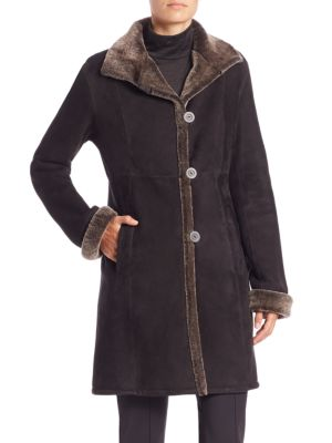 Paneled Shearling Three-Quarter Coat by The Fur Salon