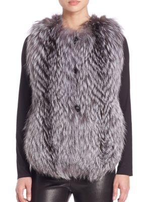 Feathered Fox Fur Vest