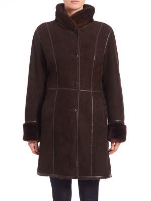 THE FUR SALON Shearling Mink-Collar Coat