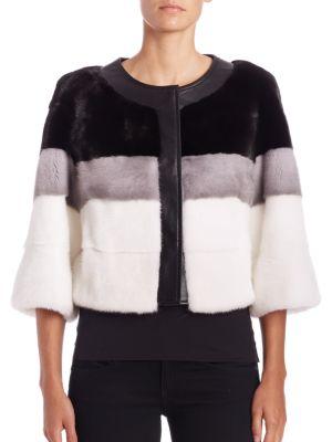 Leather-Trim Mink Fur Jacket