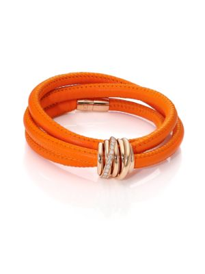 Allegra Diamond, 18K Rose Gold & Leather Wrap Bracelet/Orange