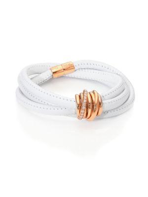 DE GRISOGONO Allegra Diamond, 18K Rose Gold & Leather Wrap Bracelet/White