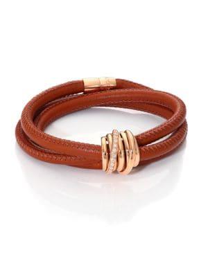 DE GRISOGONO Allegra Diamond, 18K Rose Gold & Leather Wrap Bracelet/Lion