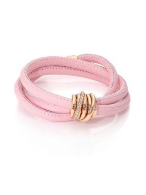 DE GRISOGONO Allegra Diamond, 18K Rose Gold & Leather Wrap Bracelet/Rosa