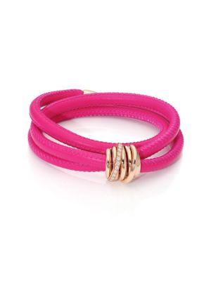 DE GRISOGONO Allegra Diamond, 18K Rose Gold & Leather Wrap Bracelet/Passion