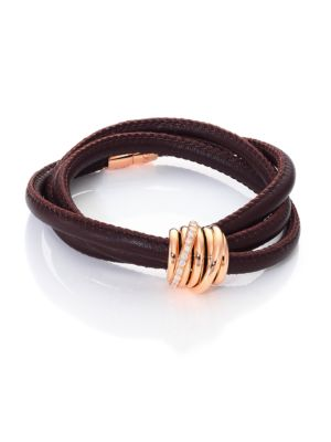 Allegra Diamond, 18K Rose Gold & Leather Wrap Bracelet/Tobacco
