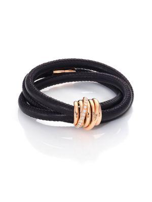 Allegra Diamond, 18K Rose Gold & Leather Wrap Bracelet/Black
