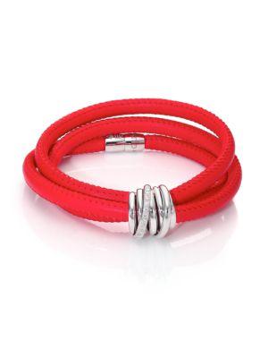 DE GRISOGONO Allegra Diamond, 18K White Gold & Leather Wrap Bracelet/Parrot