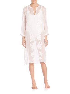 Embroidered Midi-Length Silk Caftan plus size,  plus size fashion plus size appare
