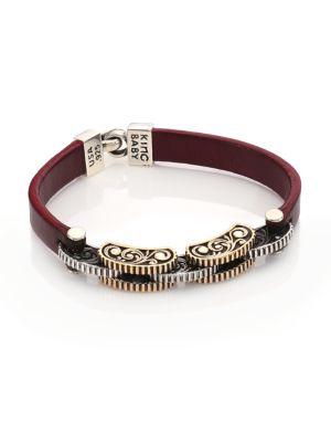 Burgundy Leather & Silver Alloy Link Bracelet