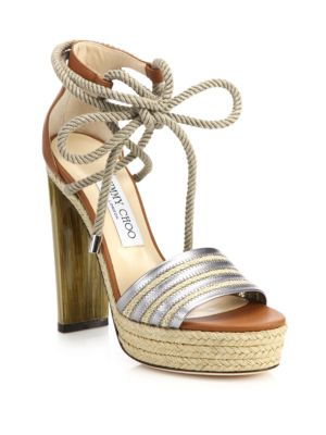 Mayje Metallic Leather & Raffia Platform Sandals