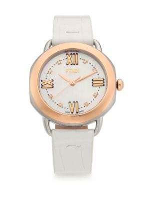 Selleria Diamond, Mother-Of-Pearl, Rose Goldtone Stainless Steel & Alligator Strap Watch