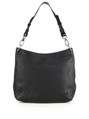 tods female 188971 gommini medium leather hobo bag