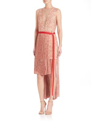 Pleated Double-Face Tweed Print Dress