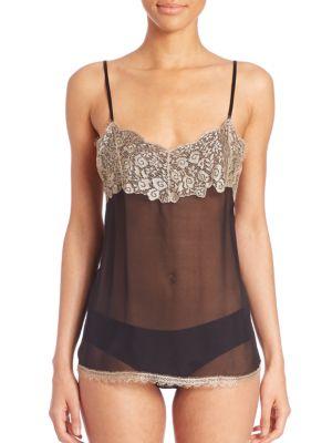 Lace-Overlay Silk Camisole by Josie Natori
