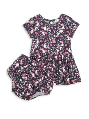 Babys TwoPiece FloralPrint Dress  Bloomers Set