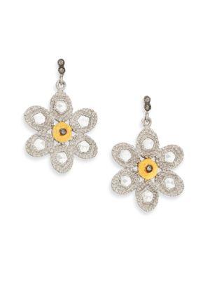 Opera Diamond, Crystal, 20K Yellow Gold & Sterling Silver Flower Drop Earrings