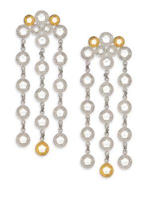 Opera Diamond, Crystal, 20K Yellow Gold & Sterling Silver Chandelier Earrings