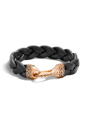 Classic Chain Braided Leather Hook Bracelet