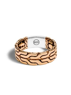 Classic Chain Bronze and Silver Band Ring