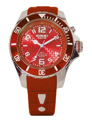 Power Red Silicone & Stainless Steel Strap Watch/48MM
