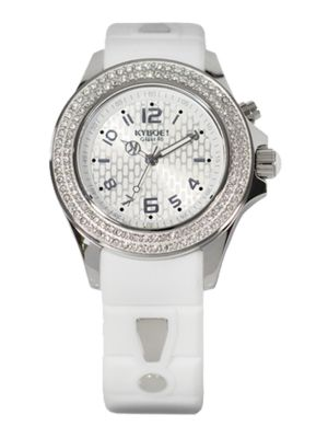 Radiant White Silicone, Pavé Crystal & Stainless Steel Strap Watch/40mm