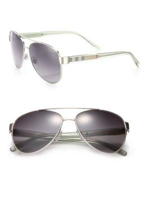 BURBERRY Pilot Double-Bridge Metal Sunglasses