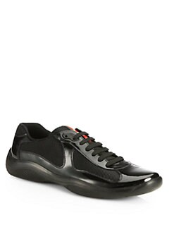 black patent leather prada sneakers