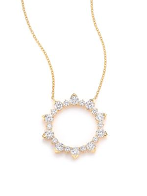 Aerial Diamond & 18K Yellow Gold Eclipse Pendant Necklace