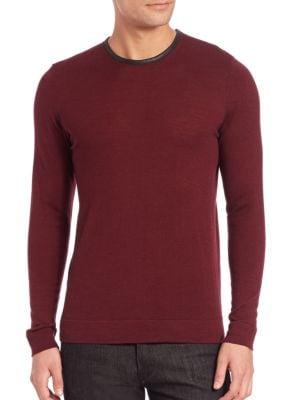 THE KOOPLES Leather-Trim Wool Sweater