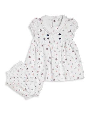 Baby's Nautical Mile Print Dress & Bloomers Set