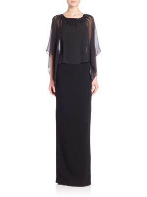 Cape-Sleeve Bead-Neck Gown