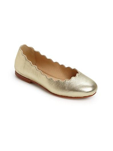 Kid's Scalloped Leather Ballerina Flats