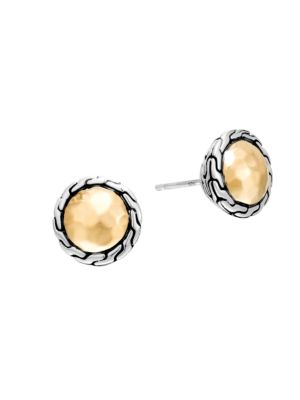 Classic Chain 18K Yellow Gold & Sterling Silver Stud Earrings