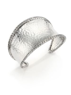 Classic Chain Hammered Sterling Silver Cuff Bracelet