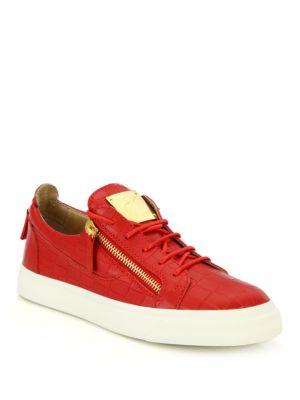 Croc-Embossed Leather Double-Zip Low-Top Sneakers