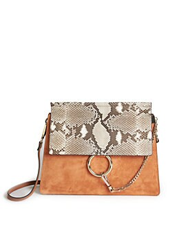 chloe faye python leather satchel