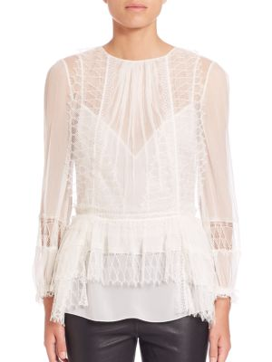 Lace-Trim Peplum Blouse