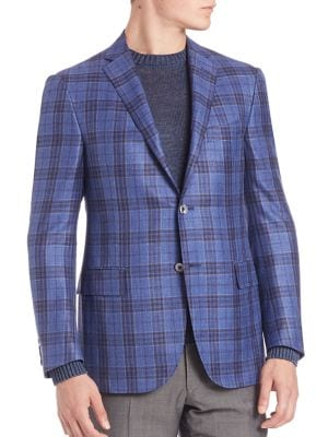 Plaid Wool, Silk & Linen Sportcoat