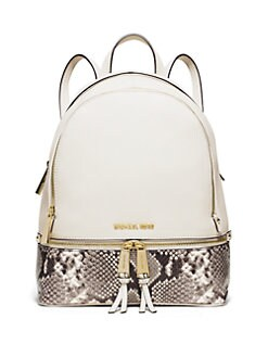 fbf23de2bc92 MICHAEL MICHAEL KORS Rhea Small Leather & Snake-Embossed Zip Backpack
