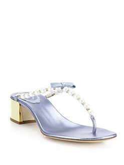 c567ed9a473 Rene Caovilla Faux Pearl   Crystal Metallic Leather Thong Sandals