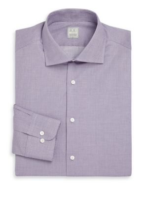 Regular-Fit Micro Plaid Dress Shirt
