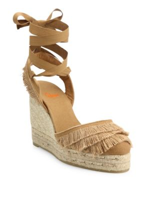 castaner female  cala feathered canvas espadrille wedge sandals