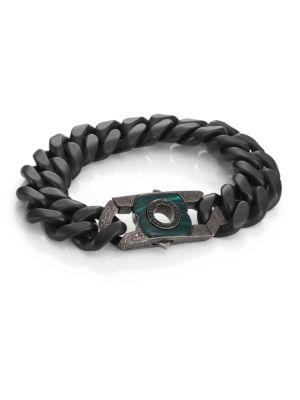 Black Sapphire, Malachite & Sterling Silver Clasp
