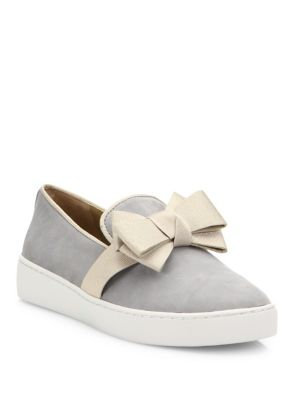 Val Suede Bow Skate Sneakers