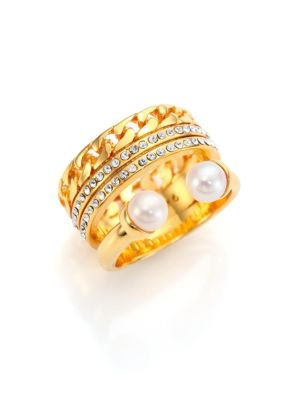 Grace Titan 5MM-5.5MM White Akoya Pearl & Crystal Chain Ring
