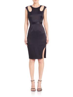 Satin Cutout-Detail Dress