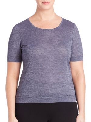 Pointelle-Trim Knit Tee plus size,  plus size fashion plus size appare