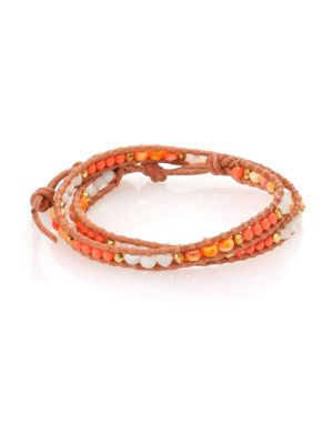 Mother-Of-Pearl, Faux Lion's Paw Pearl & Leather Beaded Double-Wrap Bracelet