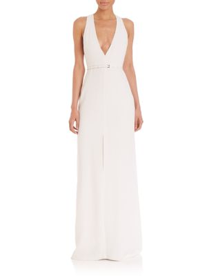 Hardware Accented V-Neck Gown